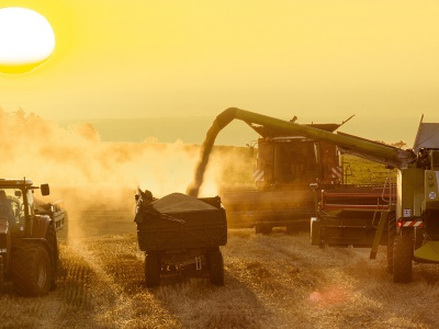 Farm machines during harvest