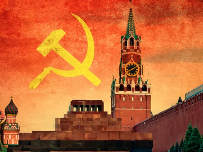 A hammer and sickle over Moscow's Red Square