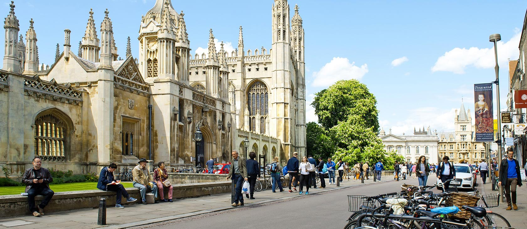 Pedestrians and students walking on the street near Cambridge University